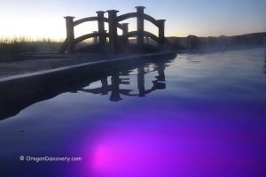 Crystal Crane Hot Springs - Swimming Pond at Night